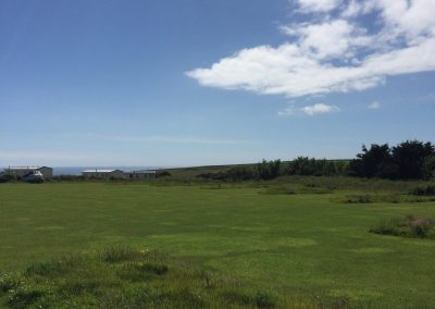Grass camping pitches with sea views in the distance