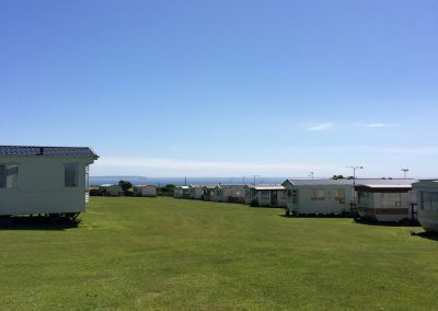 Views of the static caravan park at Llanungar