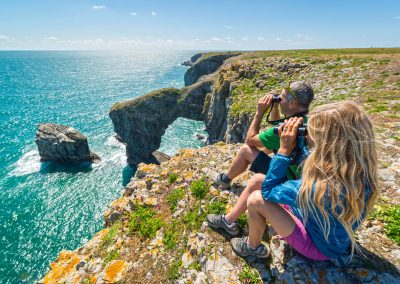 Bird watching on the coast path at Castlemartin