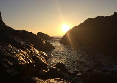 Sun setting at Porth y Rhaw